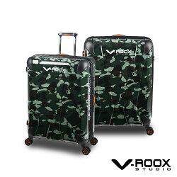 展示出清 V-ROOX AXIS 21吋 原創設計可擴充行李箱 硬殼防爆雙層拉鏈旅行箱-迷彩綠色