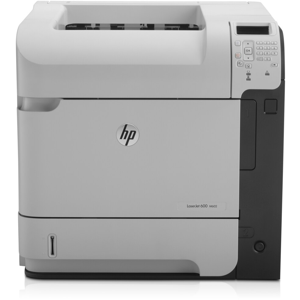 HP LaserJet 600 M602N Laser Printer - Monochrome - 1200 x 1200 dpi Print - Plain Paper Print - Desktop - 52 ppm Mono Print - 600 sheets Standard Input Capacity - 225000 Duty Cycle - LCD - Ethernet - USB 0