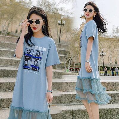 韓系女裝網紗拼接中長款過膝T恤連身裙洋裝樂天時尚館。預購