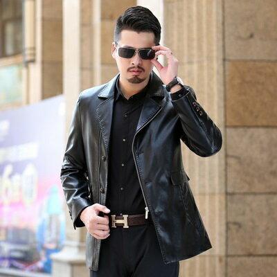 ★皮衣夾克外套-冬季西裝領純色薄款男夾克4色73pn3【獨家進口】【米蘭精品】 0