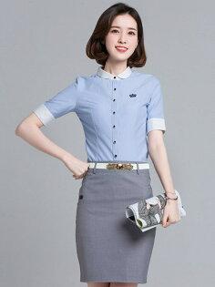 OL襯衫,皇冠logo圓領白藍 工作服 制服wcps86