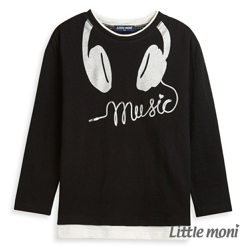 Little moni 耳機印圖上衣-黑色(好窩生活節) 1