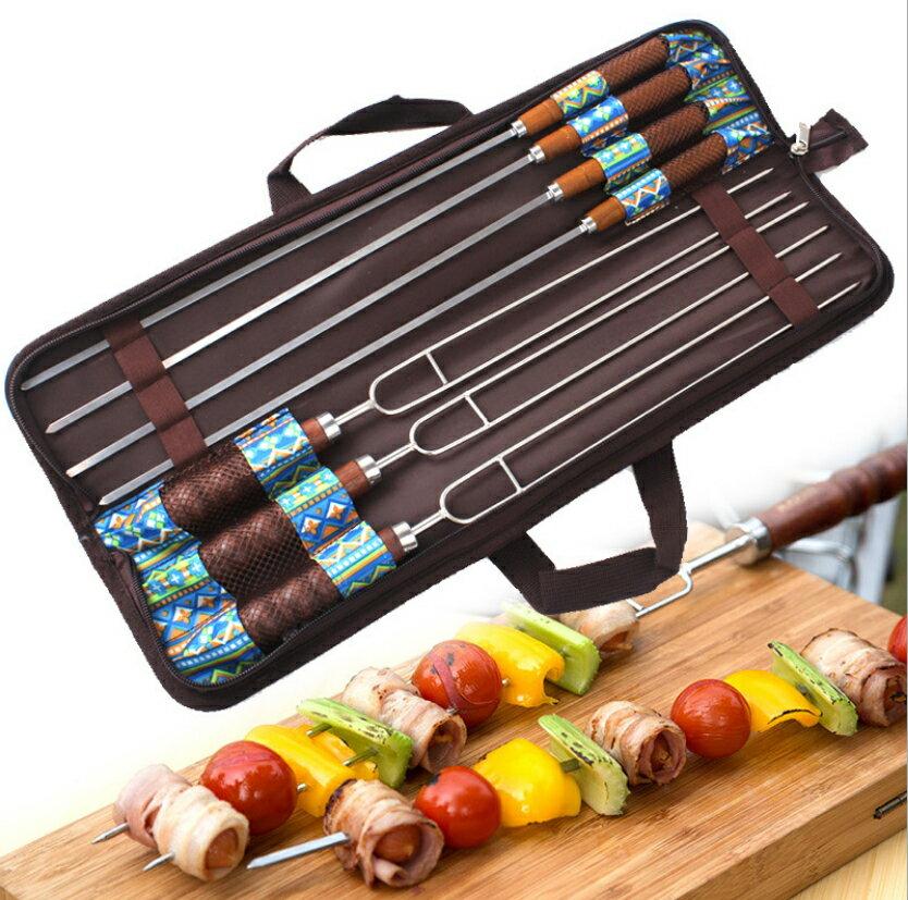 【露營趣】中和 TNR-181 不鏽鋼烤肉叉 烤肉叉 烤肉串叉 雙針烤肉叉 肉串叉 BBQ 焚火台必備