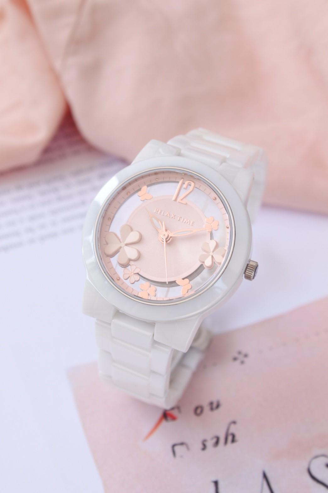 ►聖誕節禮物◄ RELAX TIME RT-80-3 Garden系列 鏤空陶瓷腕錶 送手環 玫瑰金 38MM 1