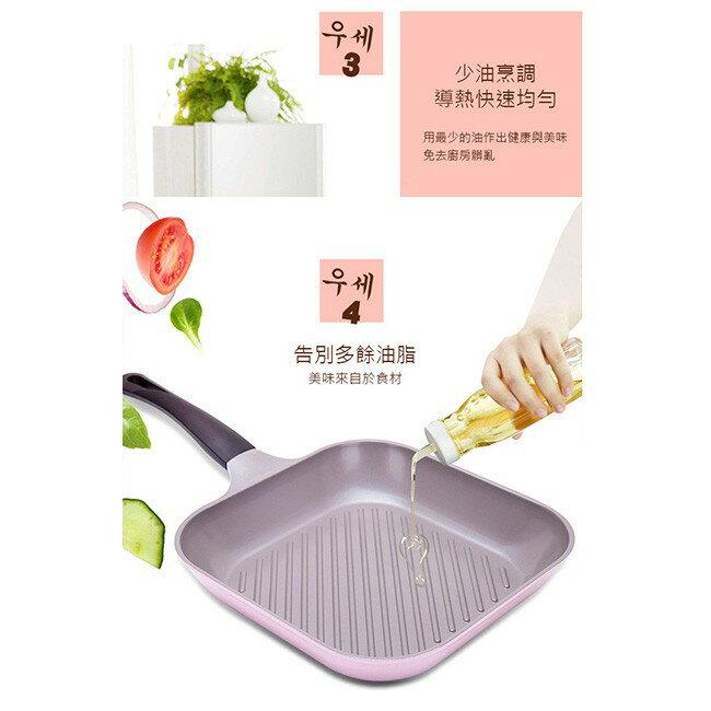 韓國 Chef Topf 薔薇系列28公分不沾方型煎鍋/韓國製造/不沾鍋/洗碗機用/最美鍋/方鍋 6