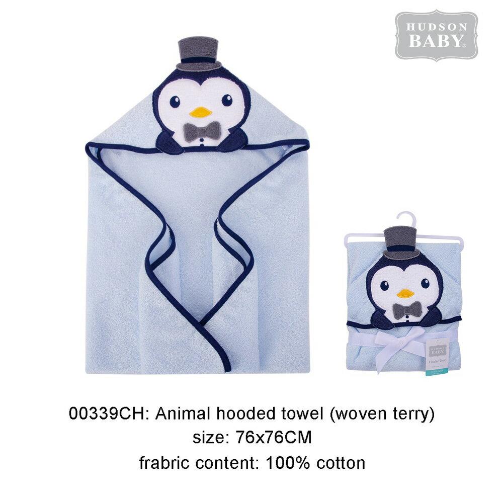 美國 Luvable friends 100% 純棉嬰幼兒動物造型連帽浴巾/包巾_藍企鵝 (LF00339)