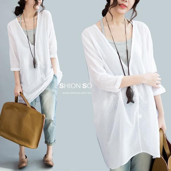 享瘦衣舍中大尺碼【B9165】二件式-V領排扣七分袖麻棉薄衫含小可愛