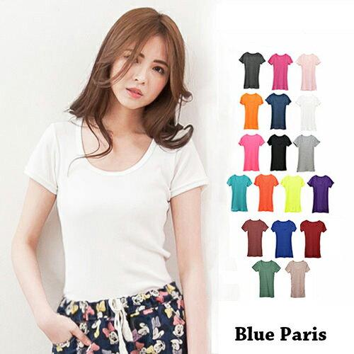 短袖T恤~短袖百搭純色圓領羅紋T恤~23007~藍色巴黎~18色~
