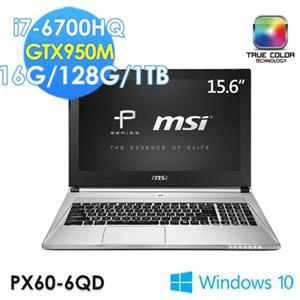 MSI微星 PX60 6QD-009TW-SS7670H16G1T0DX10MH 15.6吋筆電i7 6700HQ/16GB128G SSD +1TB/GTX950M 2G/W10