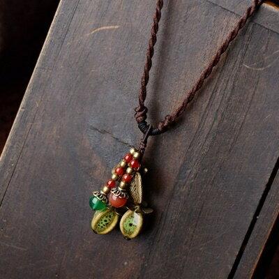 ~民族風瑪瑙毛衣鍊~精緻 陶瓷項鍊 母親節情人節生日 女飾品73hf75~ ~~米蘭 ~