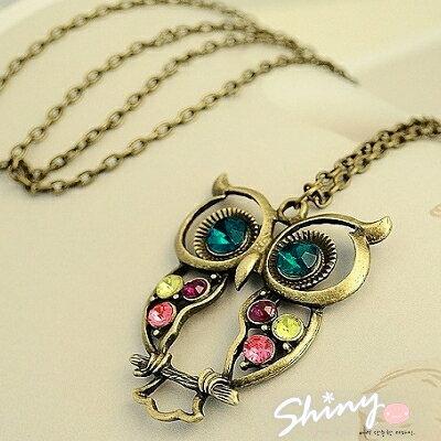 【60A15】shiny藍格子-復古彩鑽鏤空雕花貓頭鷹項鏈