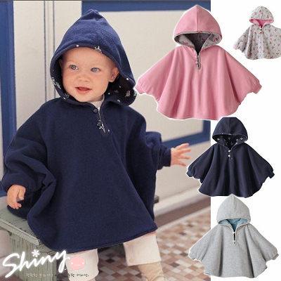 ~全店滿399輸入DENIM60 折60【TZ001】shiny藍格子-二層式寶寶雙面穿披風斗篷