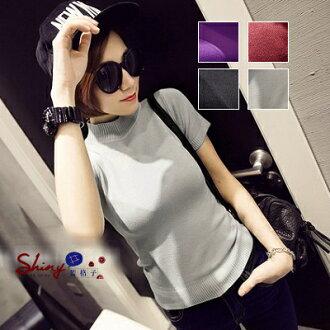 【V0012】shiny藍格子-舒適好搭.簡約時尚小高領針織薄款短袖上衣