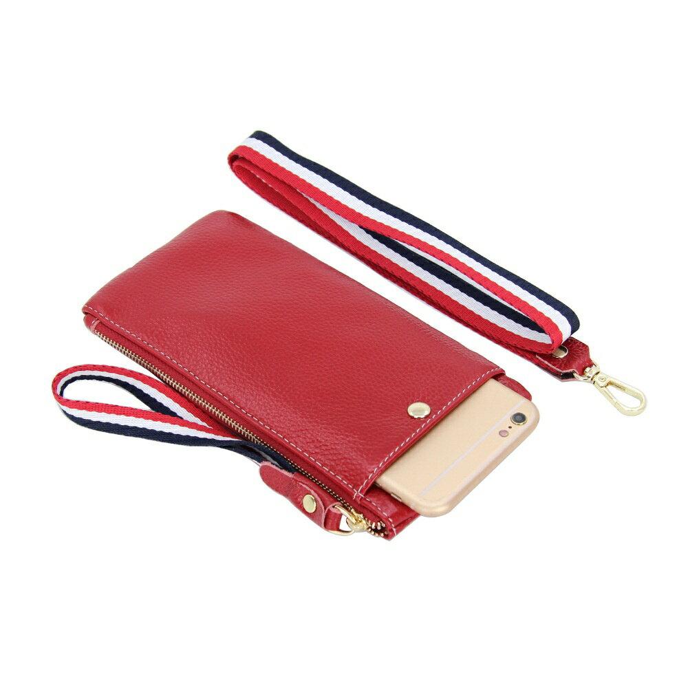 手拿包真皮手機包-薄款純色牛皮掛脖女包包4色73wz41【獨家進口】【米蘭精品】 1
