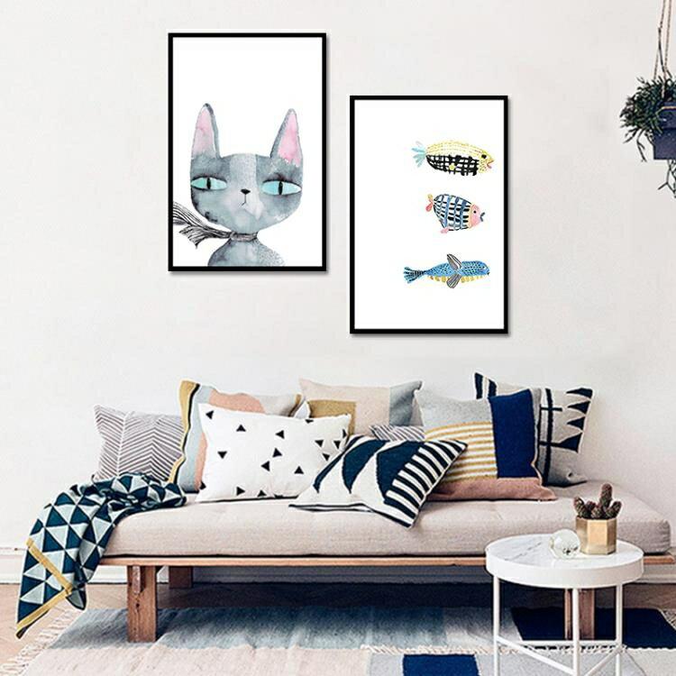 現代簡約裝飾畫  卡通牆畫貓魚無框畫  兒童房掛畫客廳壁畫