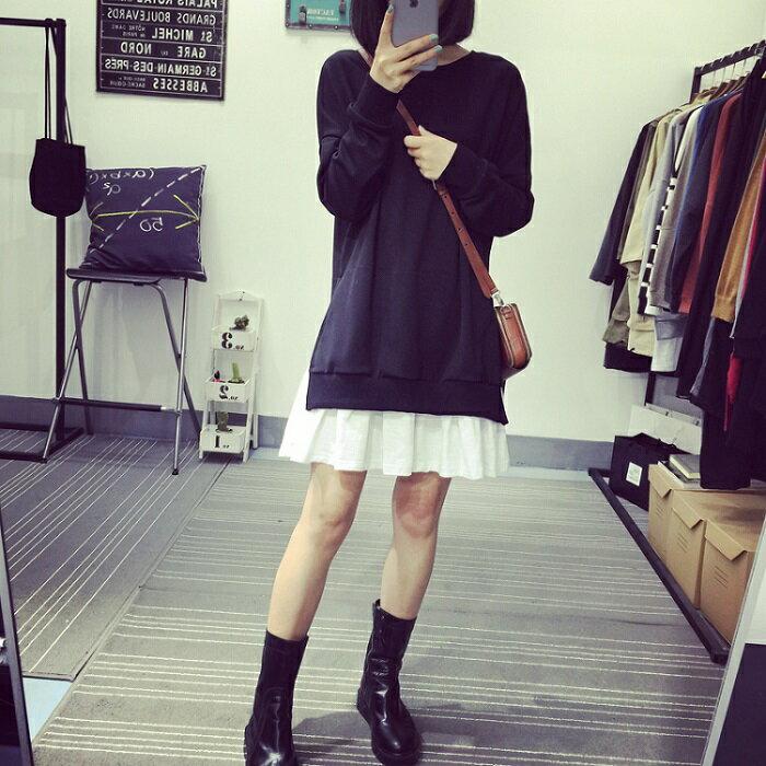 PS Mall 秋裝休閒裙擺式圓領長袖衛衣連身裙 洋裝~T2758~ ~  好康折扣