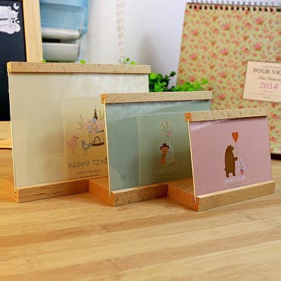 ♚MY COLOR♚HAPPY TIME原木相框 壓克力 透明 照片 擺飾 桌面 擺台 佈置 禮物 閨蜜【H37-1】