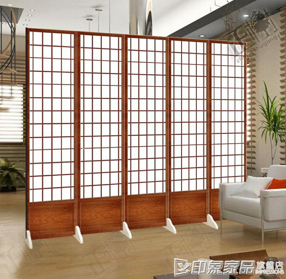 日式屏風和風仿木紋格子時尚客廳餐烤料理店 可折疊美容隔斷布藝 印象家品旗艦店
