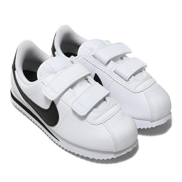 Shoestw【904767-102】NIKE CORTEZ BASIC SL (PSV) 阿甘鞋 皮革 黏帶 白黑 中童鞋★APP限定   滿1000結帳輸入『19Jan100』再折100 ❤ 滿2..