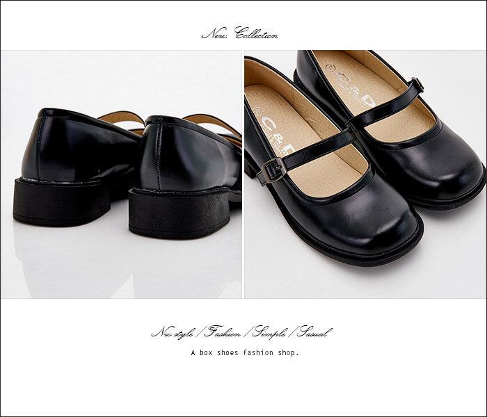 格子舖*【KBCD-018】MIT台灣製 學院風透氣亮皮 3cm粗低跟 一字瑪利珍款學生皮鞋 休閒皮鞋 黑色 1