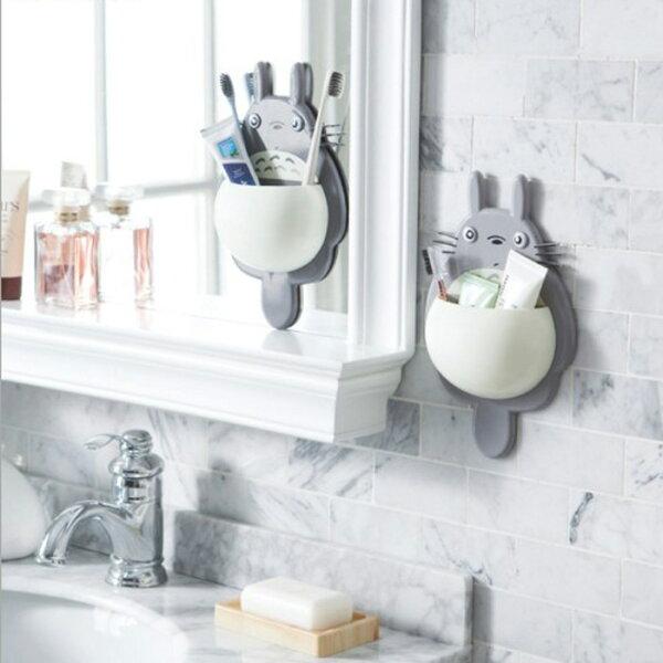 糖衣子輕鬆購【DZ0391】創意可愛龍貓強力三吸盤多功能牙刷架收納架