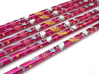 【真愛日本】15090100002 6角6入鉛筆-閃亮 文具 生活雜貨 kitty 三麗鷗 Sanrio 凱蒂貓 書寫