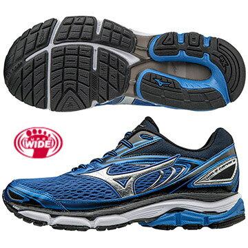 J1GC174503(藍X銀)暢銷支撐鞋款  WAVE INSPIRE 13 SW超寬楦男慢跑鞋S【美津濃MIZUNO】
