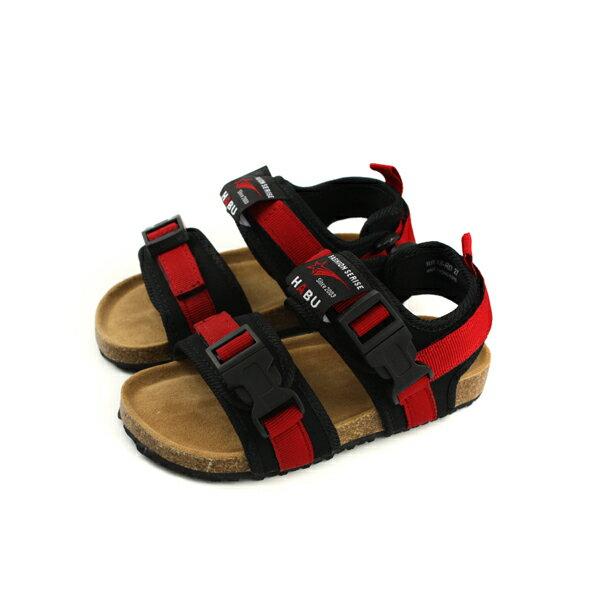 小男生鞋 涼鞋 魔鬼氈 紅 / 黑 童鞋 RR34B-RD no006 0