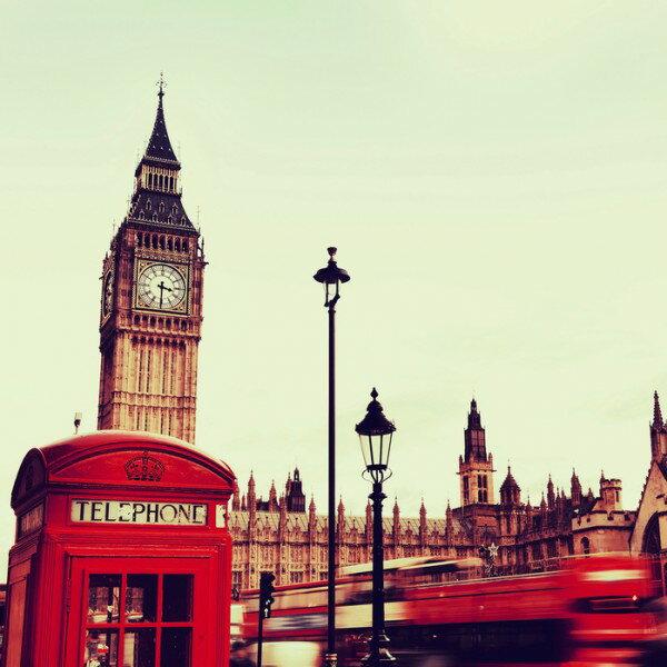英國倫敦紅色電話亭大笨鐘壁畫訂製壁畫e23962