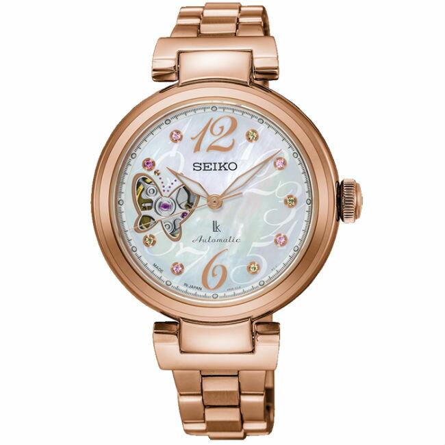 Seiko 精工錶 Lukia系列4R38-01M0G(SSA800J1)熱愛生活限量珍珠母貝面玫瑰金款機械腕錶 / 34mm - 限時優惠好康折扣