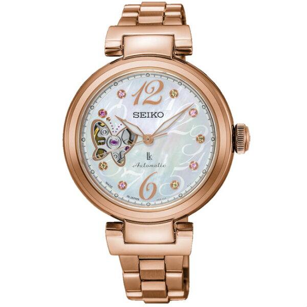 Seiko精工錶Lukia系列4R38-01M0G(SSA800J1)熱愛生活限量珍珠母貝面玫瑰金款機械腕錶34mm