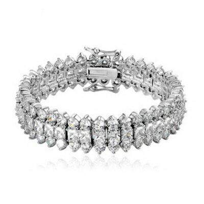 ~純銀手鍊 鍍白金鑲鑽手環~高貴典雅大方奢華七夕情人節 女飾品73cv8~ ~~米蘭 ~