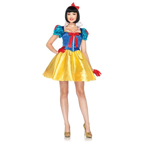 Leg Avenue Costumes 2Pc.Classic Snow White Dress with Organza Stay Up Collar Bow Head Piece, Blue/Yellow/White, Medium/Large 0