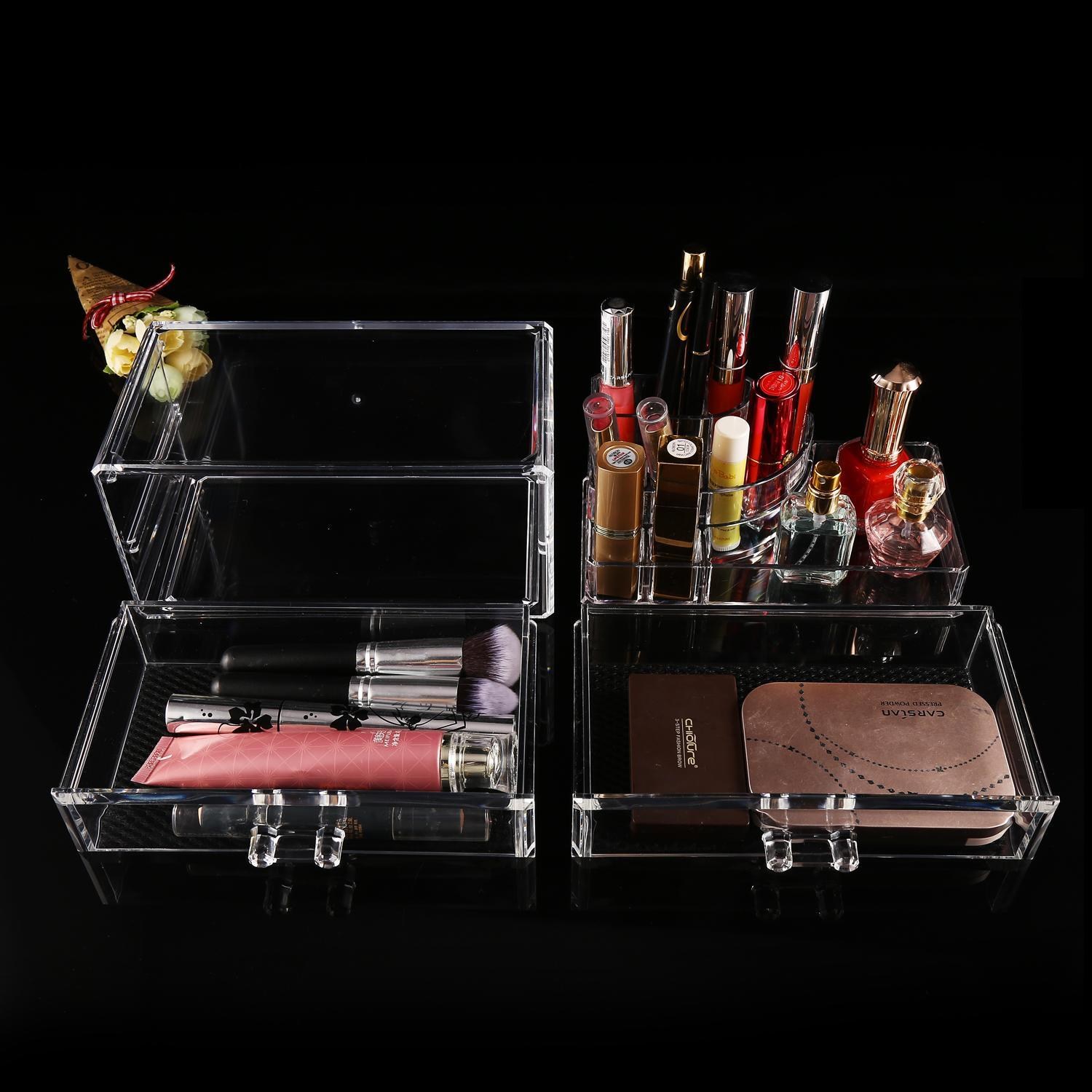 2 Drawer Container Storage Cosmetics Organizer Acrylic Display Tabletop 2