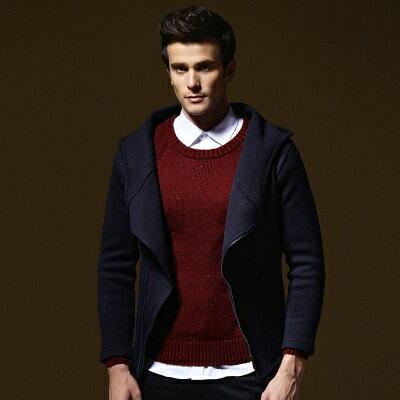 針織外套長袖針織衫-純色連帽斜拉鍊大口袋男外套73ik29【獨家進口】【米蘭精品】
