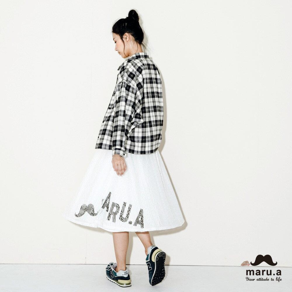 【maru.a】手繪LOGO印花布蕾絲長裙7926212 2
