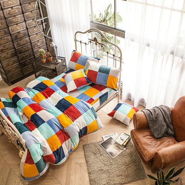 戀家小舖:獨家訂製限量款保暖法蘭絨【加勒比方格】單人鋪棉床包薄被毯組,戀家小舖S-AAR115