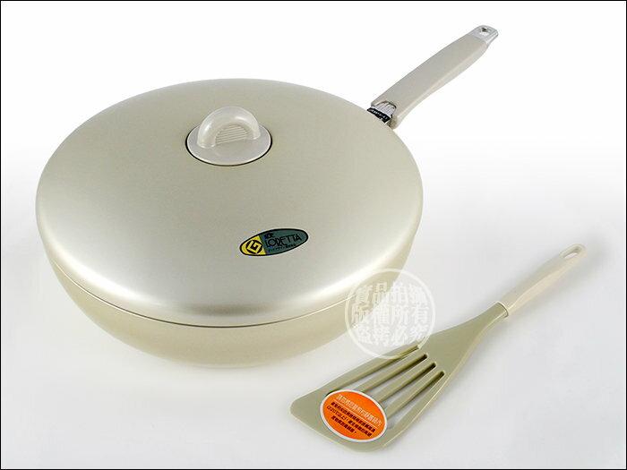 快樂屋? 日本掌廚理研平底鍋 LO-28F 28CM 附蓋、煎匙 不沾鍋效果優於七層不鏽鋼鍋 可當小炒菜鍋