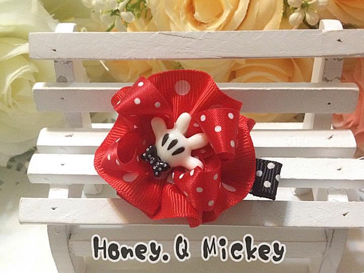 Honey Q-Mickey歡樂米奇手套立體花圓.髮夾 / 髮圈