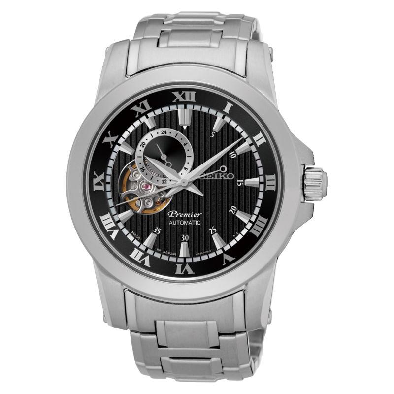 Seiko精工 Premier 4R39-00L0B(SSA277J1)24小時盤羅馬鏤空機械腕錶/黑面41.5mm