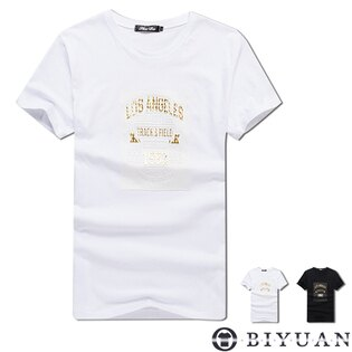 鋼印1982立體燙金短袖T恤【L35260】OBIYUAN韓版圓領短袖上衣共2色