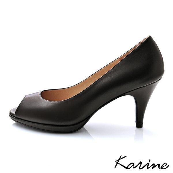 karine(MIT台灣製)全真皮素面魚口高跟鞋-深咖啡色