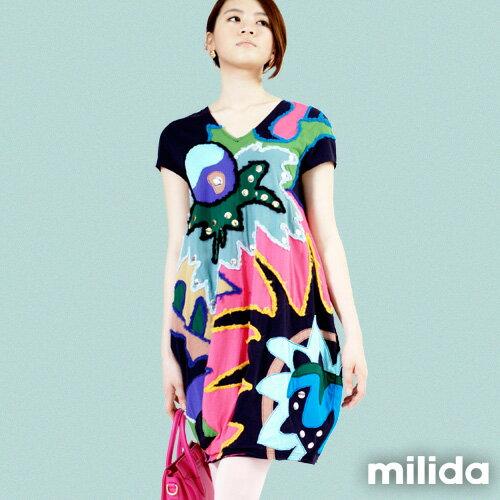 【Milida,全店七折免運】-夏季商品-拼貼款-毛線拼貼洋裝 5
