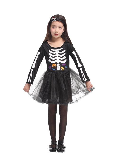 東區派對~ 萬聖節服裝 萬聖節服飾 變裝派對 兒童骷髏服~俏麗骷髏洋裝