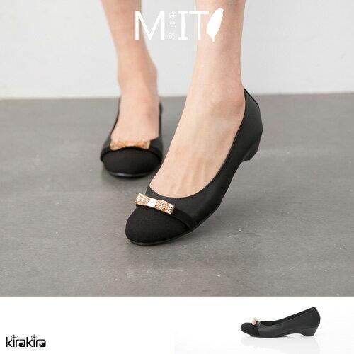 包鞋  SALE 氣質蝴蝶結金屬飾品楔型包鞋 MIT【011500958】-預購