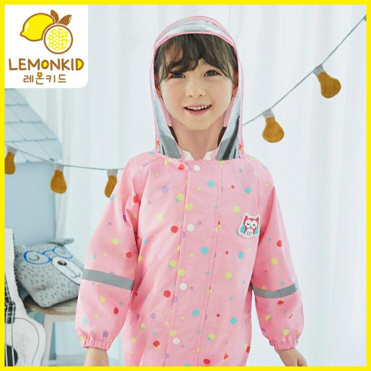 Lemonkid◆ 新款動物貓頭鷹青蛙小熊滿版透明帽沿兒童學生連體式連身雨衣- 粉色貓頭鷹
