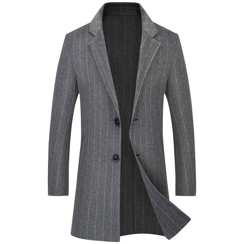 毛呢大衣中長版風衣-羊毛條紋翻領修身男外套2色73wk38【獨家進口】【米蘭精品】 1