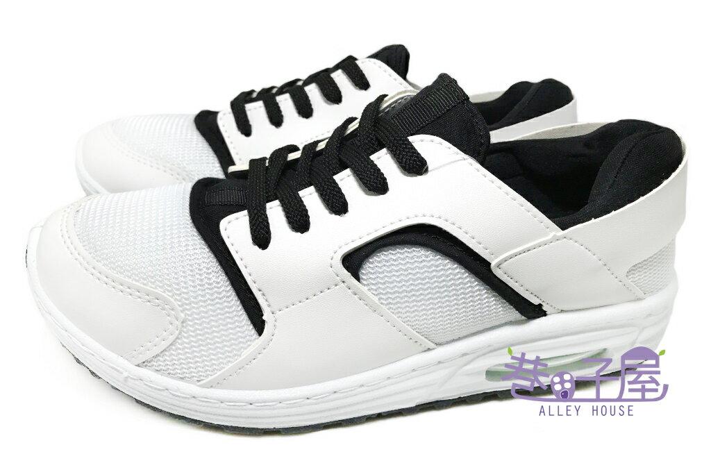 【巷子屋】Hanama 男款黑白氣墊運動休閒鞋 [5509] 白黑 MIT台灣製造 超值價$298