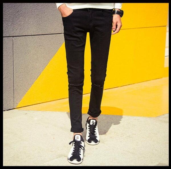 FINDSENSE品牌爆款時尚牛仔褲男修身黑白色百搭長褲間約膝蓋破洞小腳褲