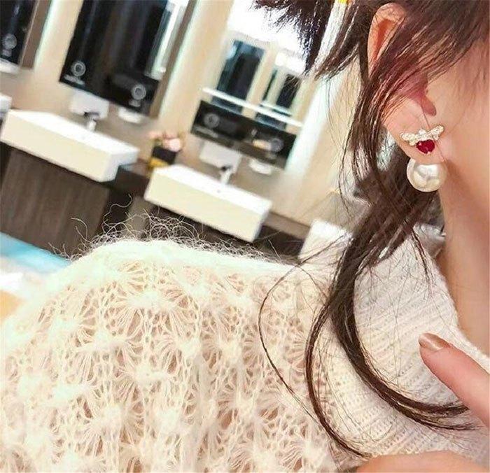 耳環 個性 愛心 鑲鑽 珍珠 甜美 氣質 雙面 耳釘 耳環【DD1812021】 BOBI  03 / 07 0